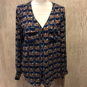 Skies Are Blue Half Button Down Patterned Blouse